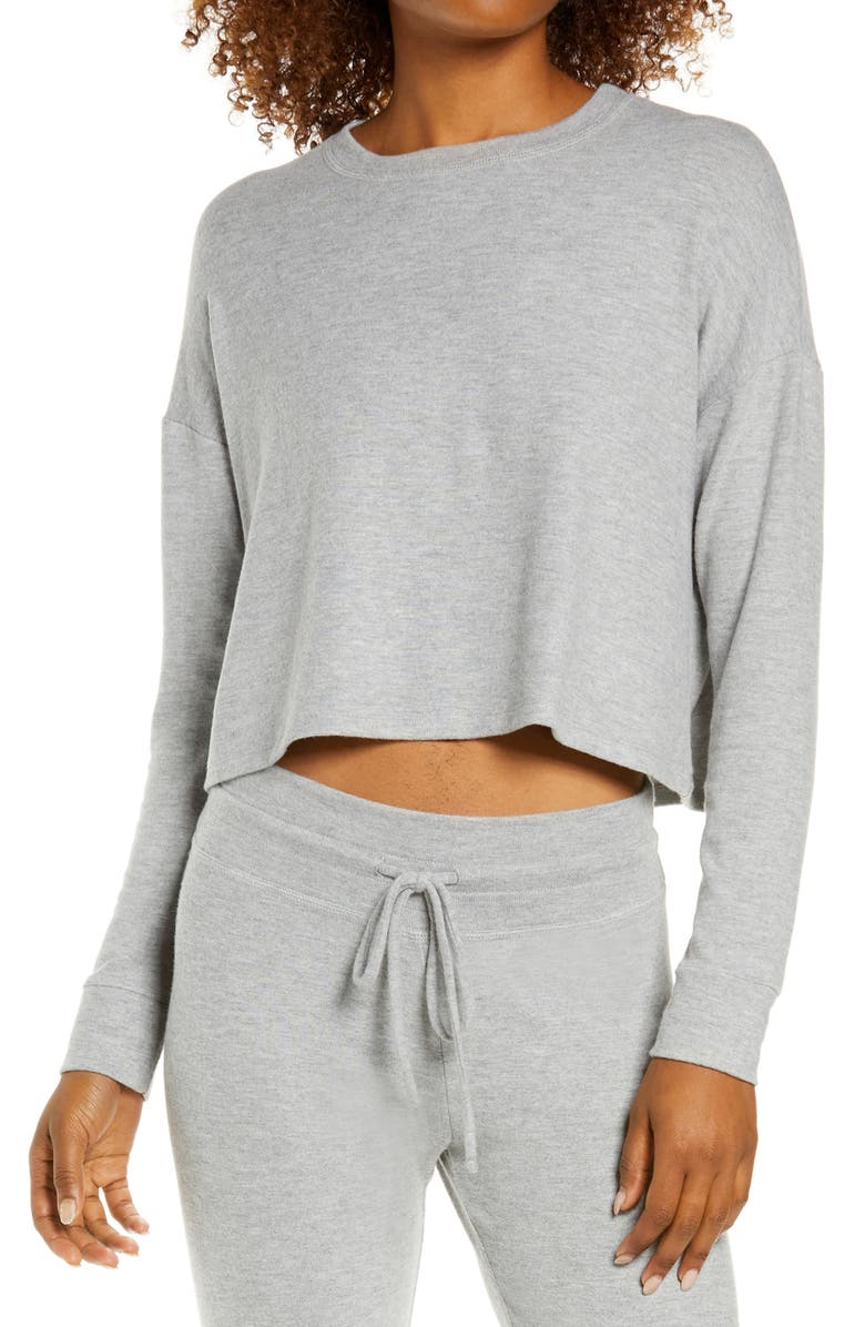 BEYOND YOGA Brushed Up Crop Sweatshirt, Main, color, LIGHT HEATHER GRAY