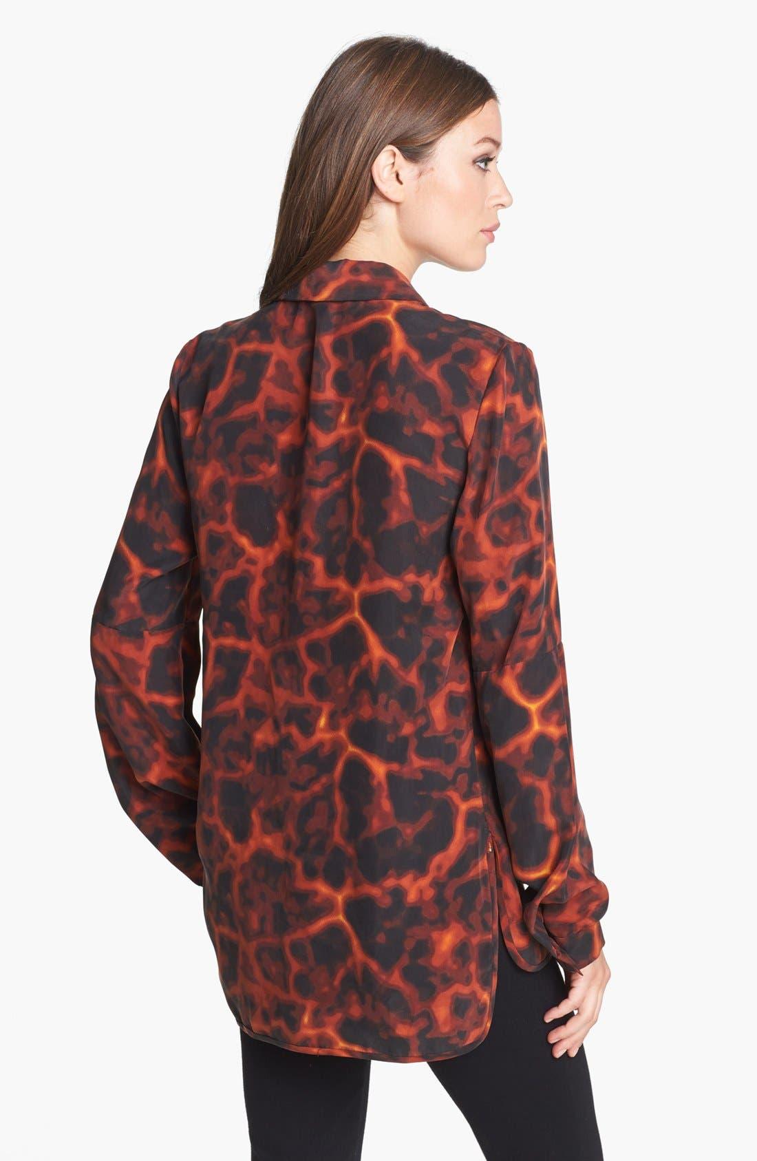 ,                             Rachel Roy Tortoise Print Silk Shirt,                             Alternate thumbnail 3, color,                             601