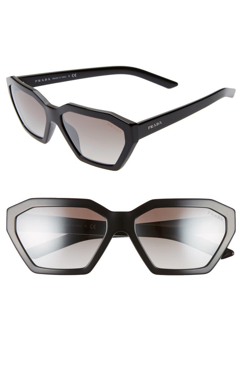PRADA Millennial 57mm Octagon Sunglasses, Main, color, BLACK