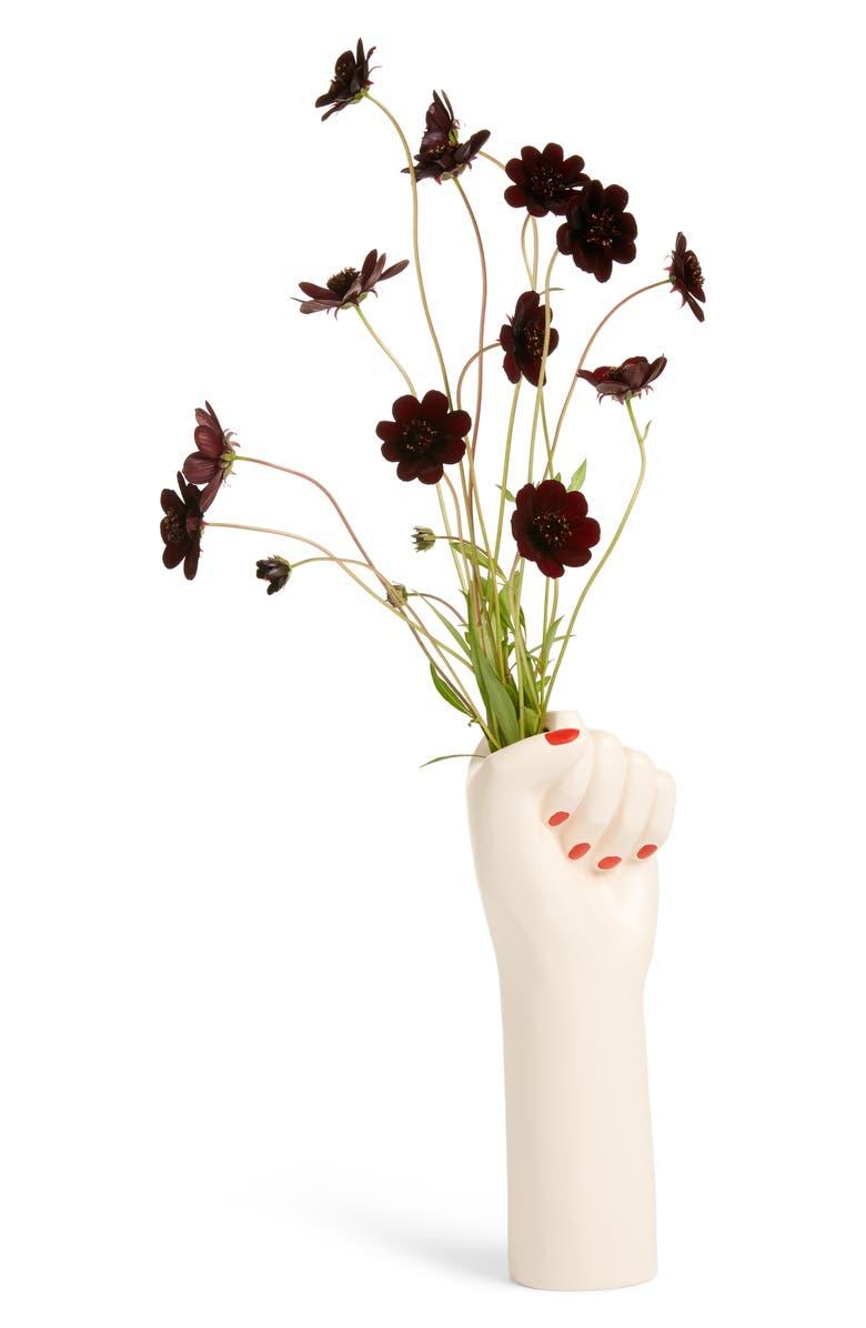 DOIY Girl Power Vase, Main, color, WHITE