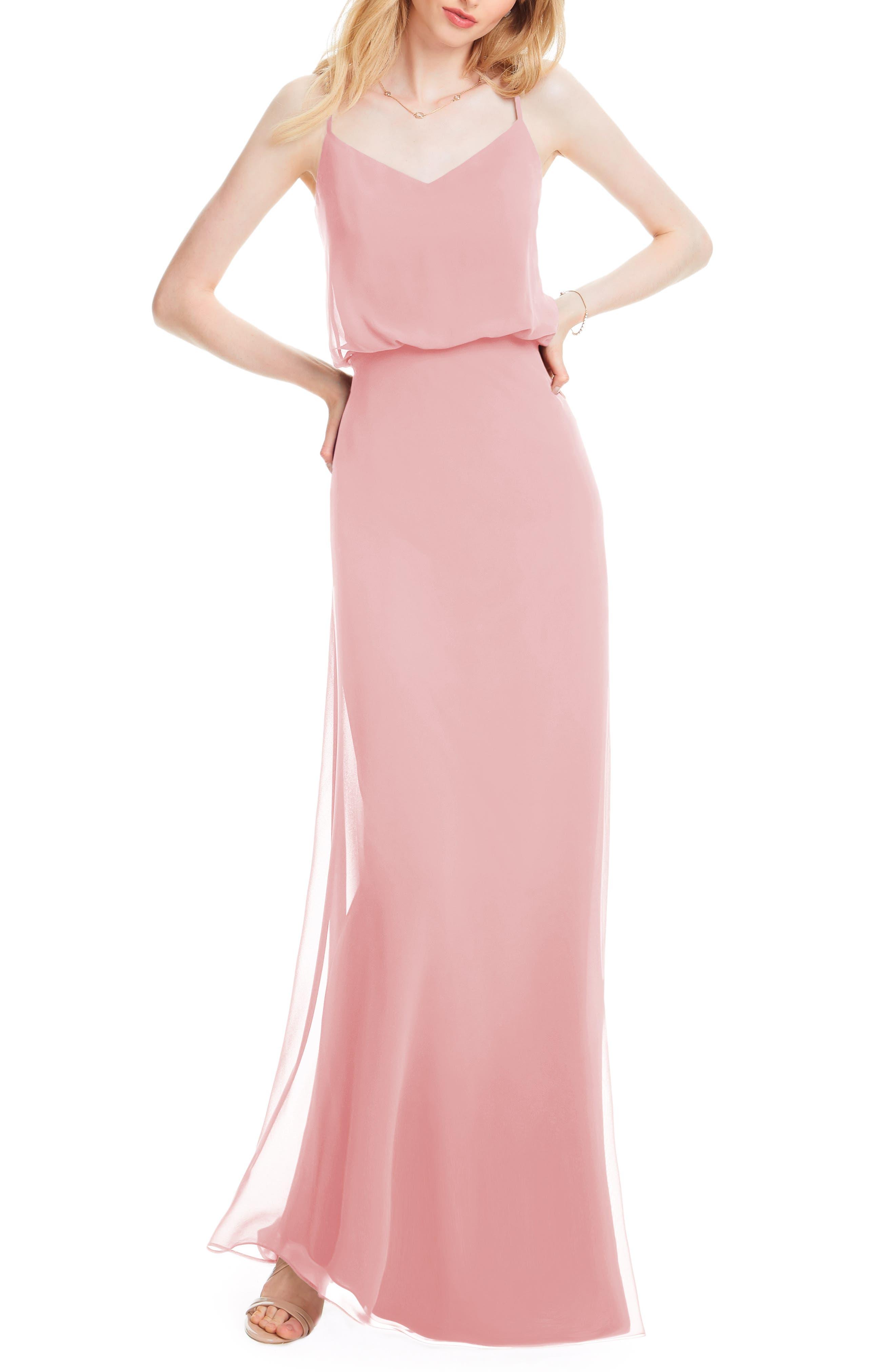 #levkoff Spaghetti Strap Chiffon Gown, Pink