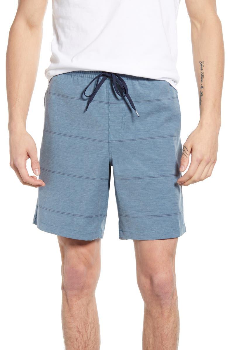 VANS Range Stripe Microplush Volley Shorts, Main, color, AEGEAN BLUE