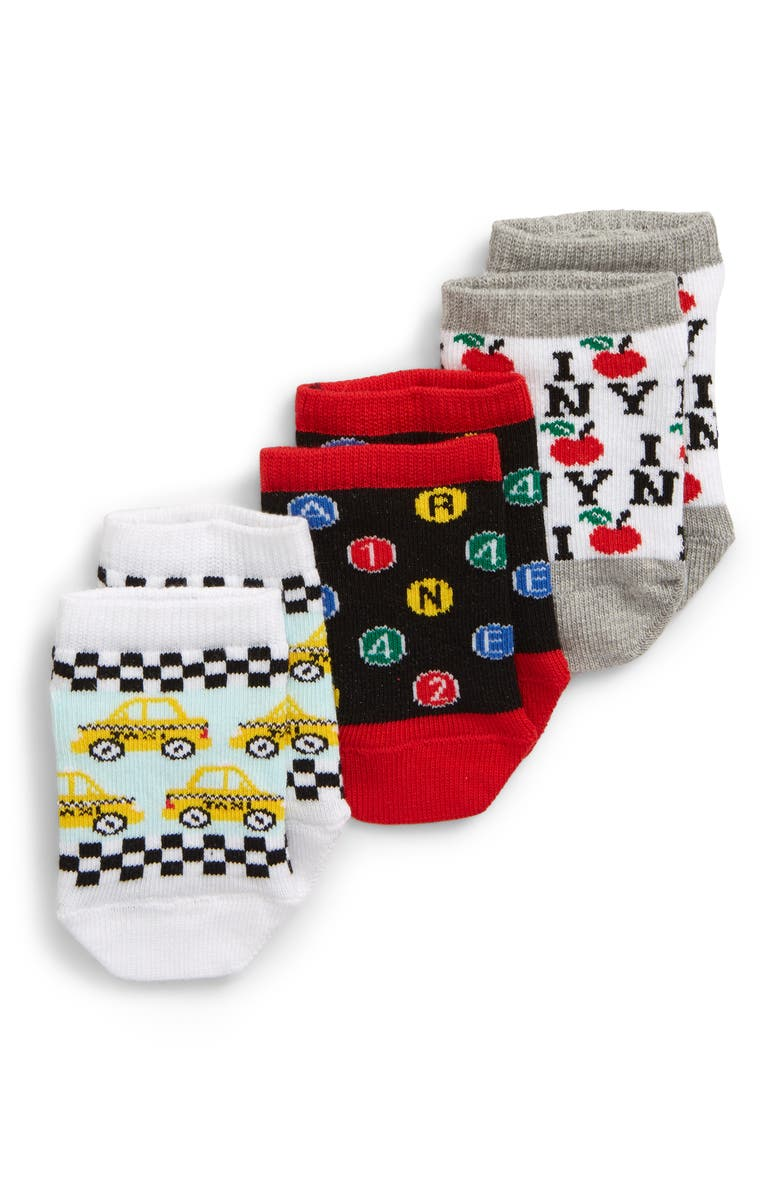 TUCKER + TATE NYC Transportation 3-Pack Socks, Main, color, RED NYC