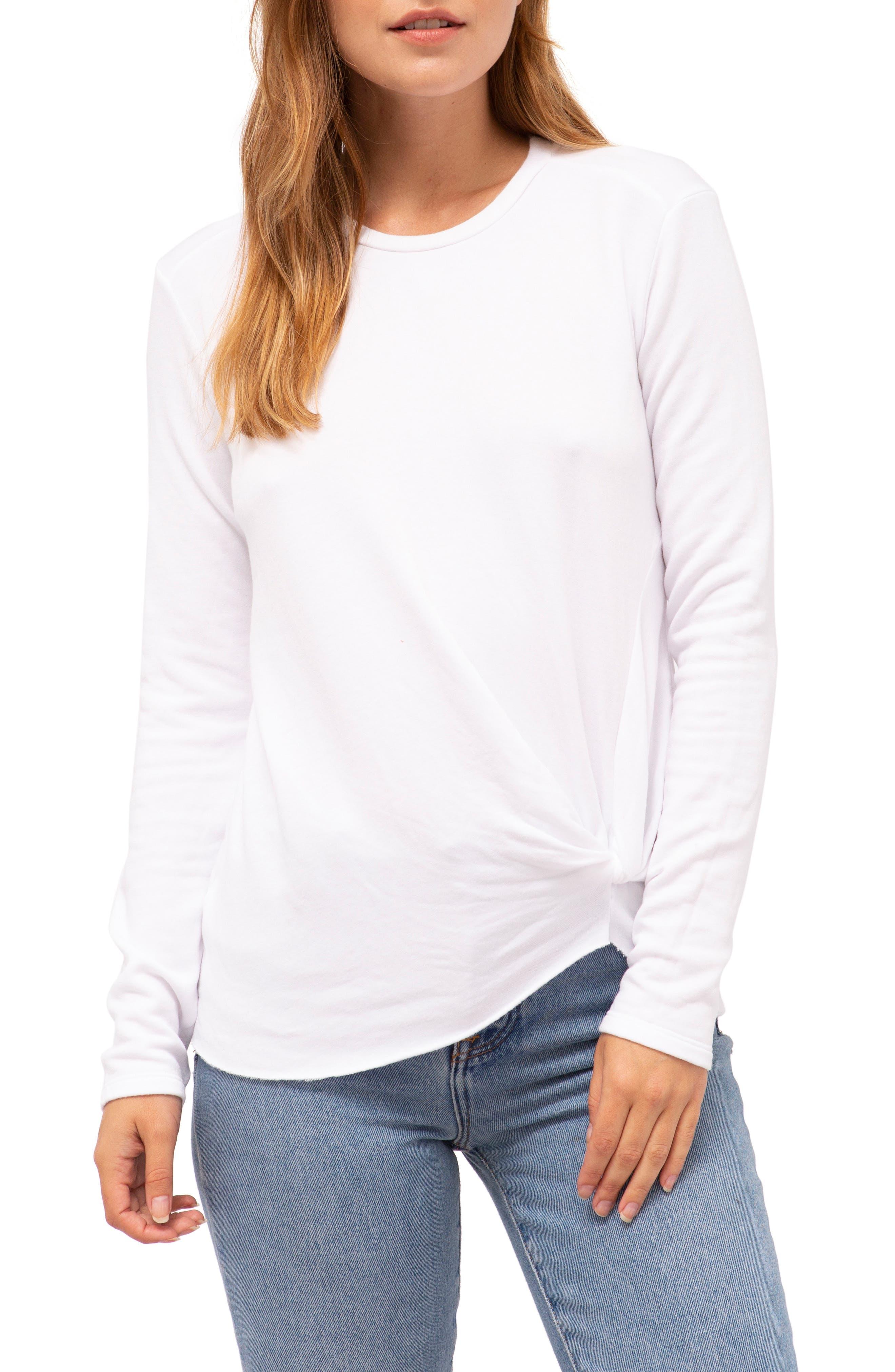 Stateside Twist Front Fleece Sweatshirt, White