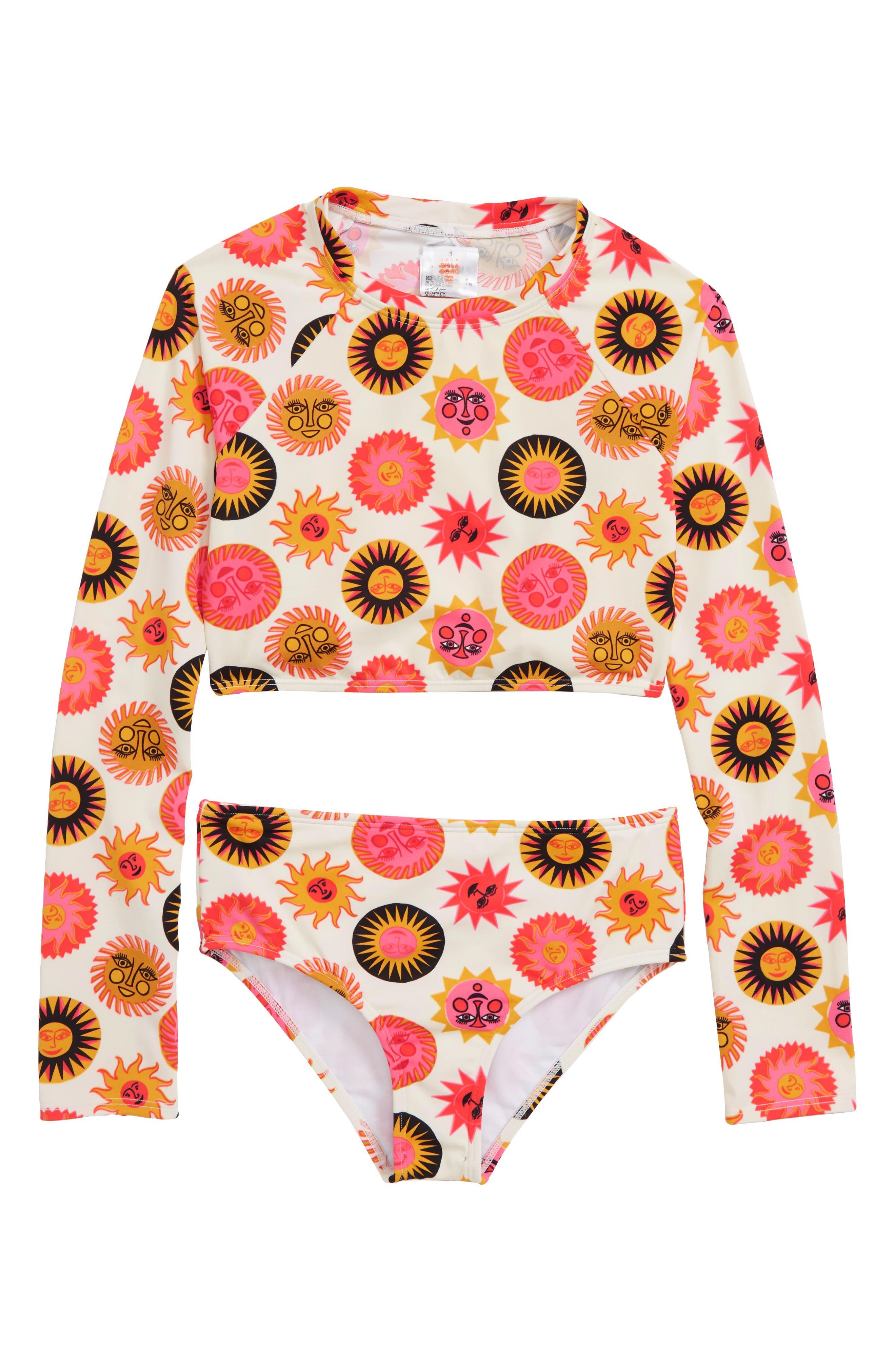 Ole Souleil Long Sleeve Rashguard Swimsuit, Main, color, 800