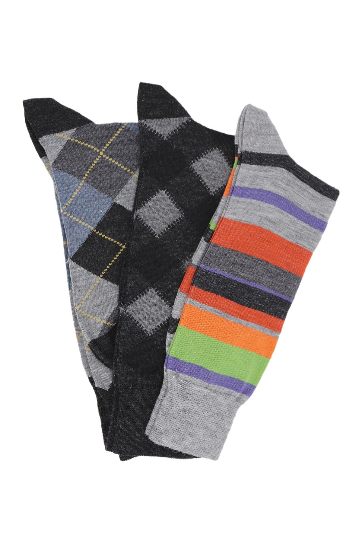 Image of Lorenzo Uomo Italian Merino Wool Crew Socks - Pack of 3