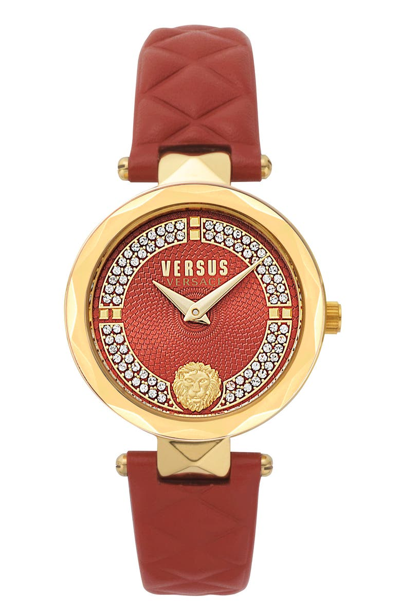 VERSUS VERSACE Covent Garden St. Valentine Leather Strap Watch, 32mm, Main, color, RED/ GOLD