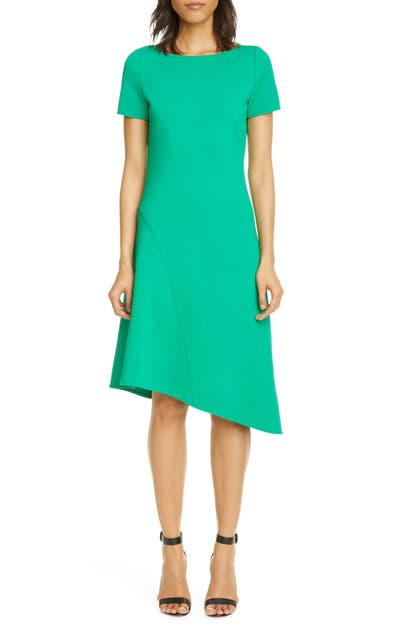 St. John ASYMMETRICAL LUXE KNIT DRESS