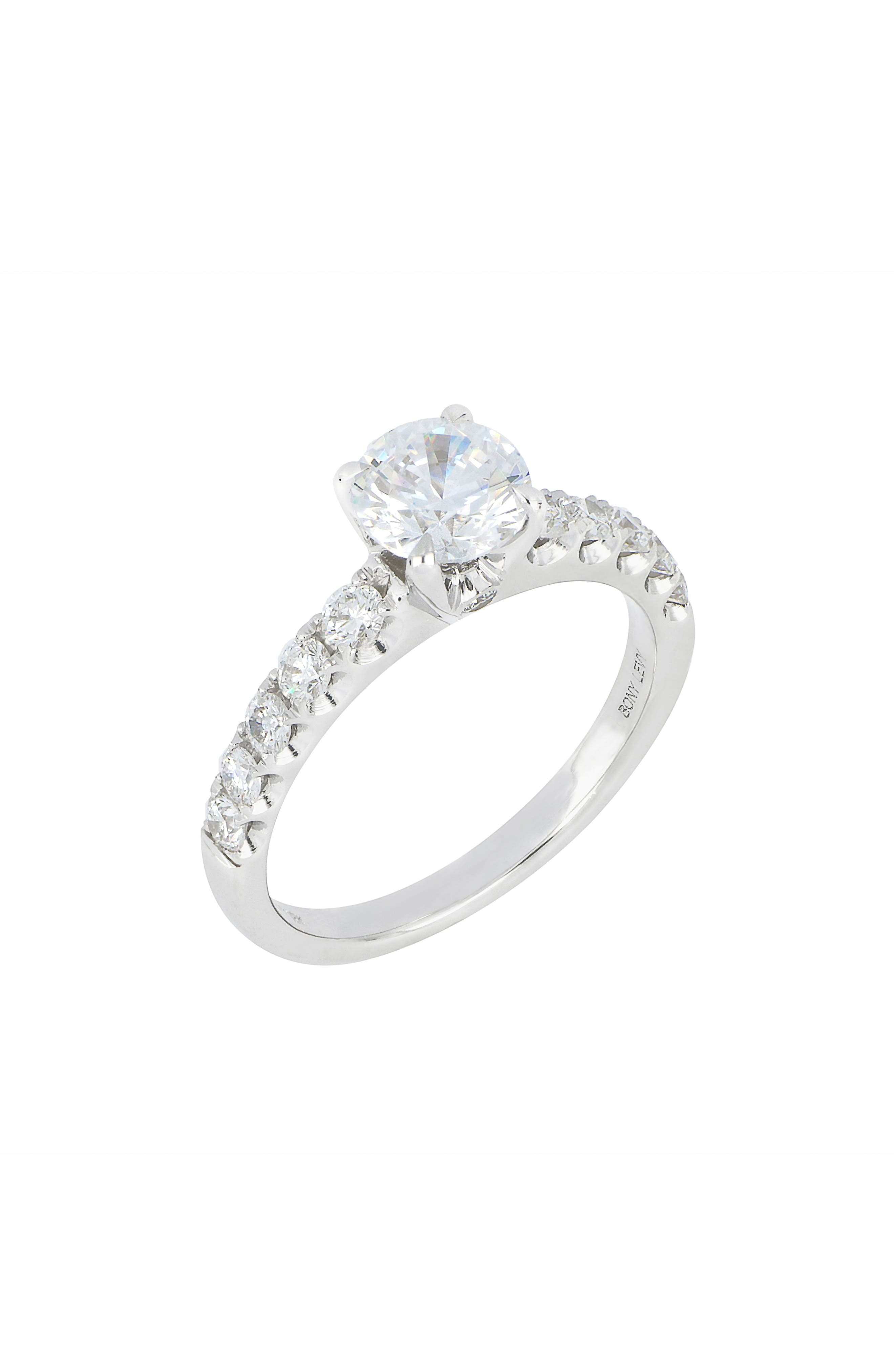 Pave Diamond Round Solitaire Engagement Ring Setting (Nordstrom Exclusive)