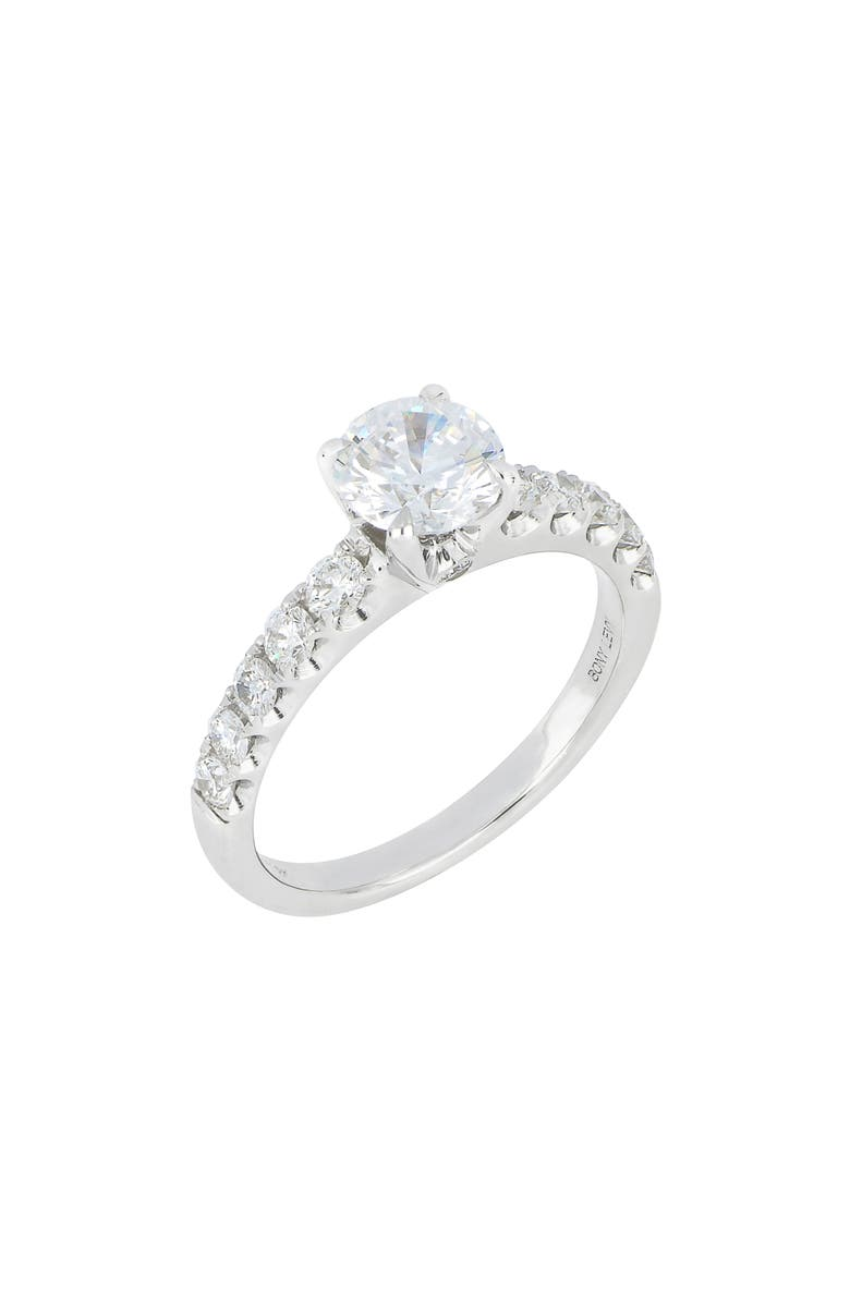 BONY LEVY Pavé Diamond Round Solitaire Engagement Ring Setting, Main, color, WHITE GOLD