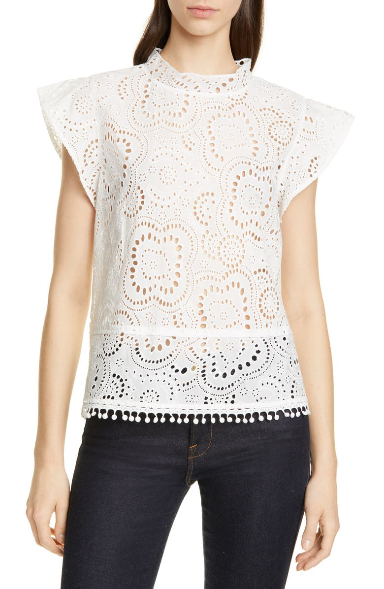 NORDSTROM SIGNATURE Embroidered Flutter Sleeve Top, Main, color, WHITE