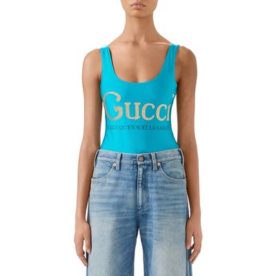 Gucci La Saison Glitter Logo One-Piece Swimsuit, Blue/green