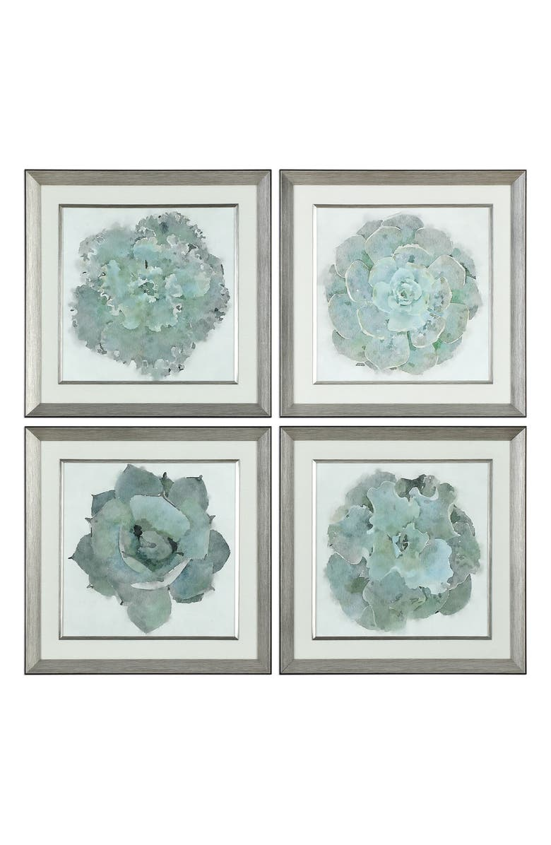 UTTERMOST Natural Beauties Set of 4 Framed Art Prints, Main, color, GRAY/ GREEN/ BLUE/ SILVER