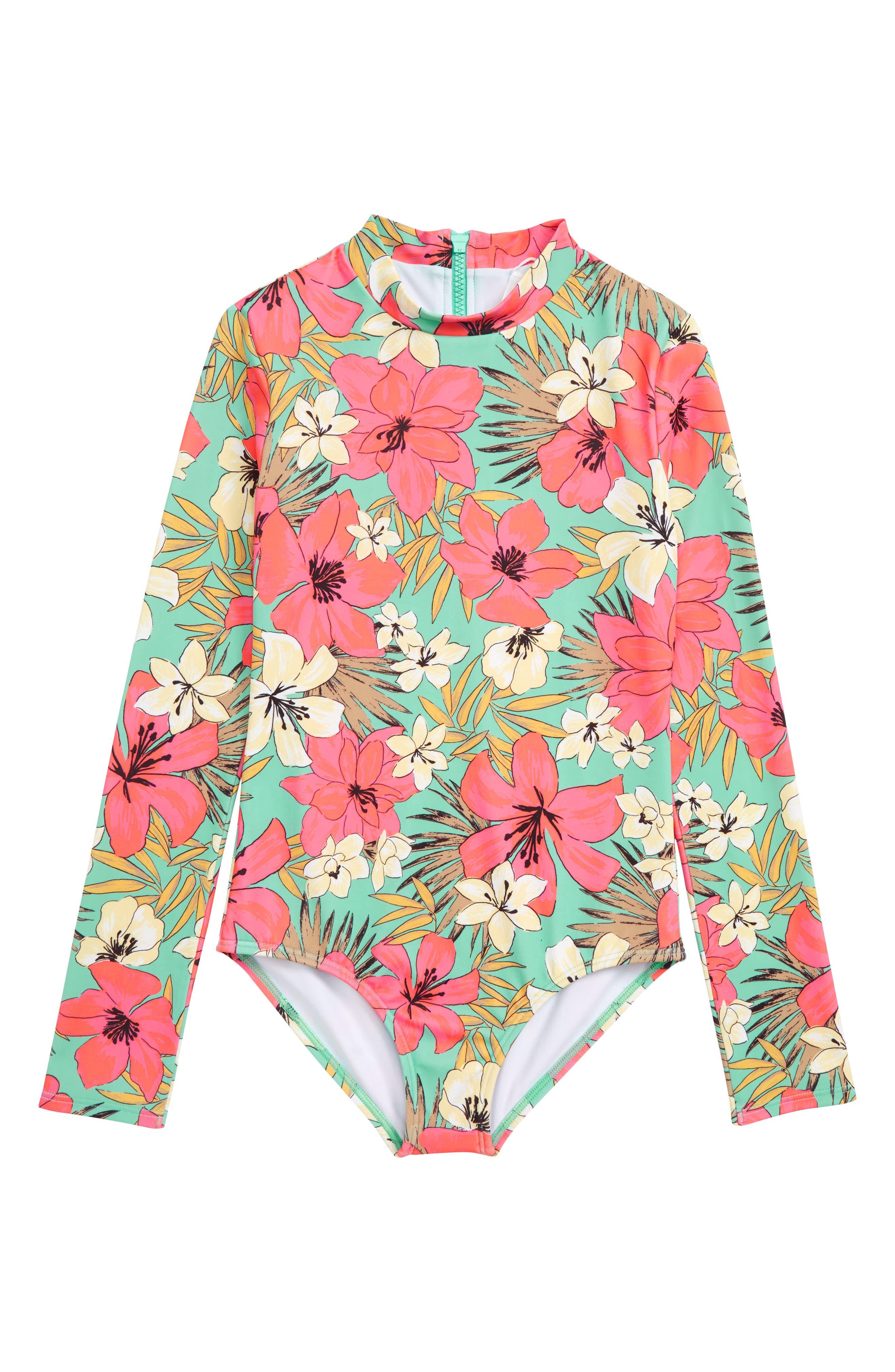 Aloha Sun One-Piece Rashguard Swimsuit, Main, color, MO-MINT