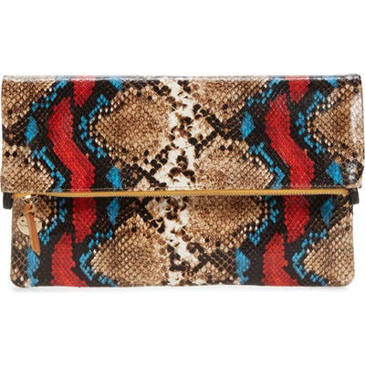 Clare V. Snake Embossed Leather Foldover Clutch - Brown