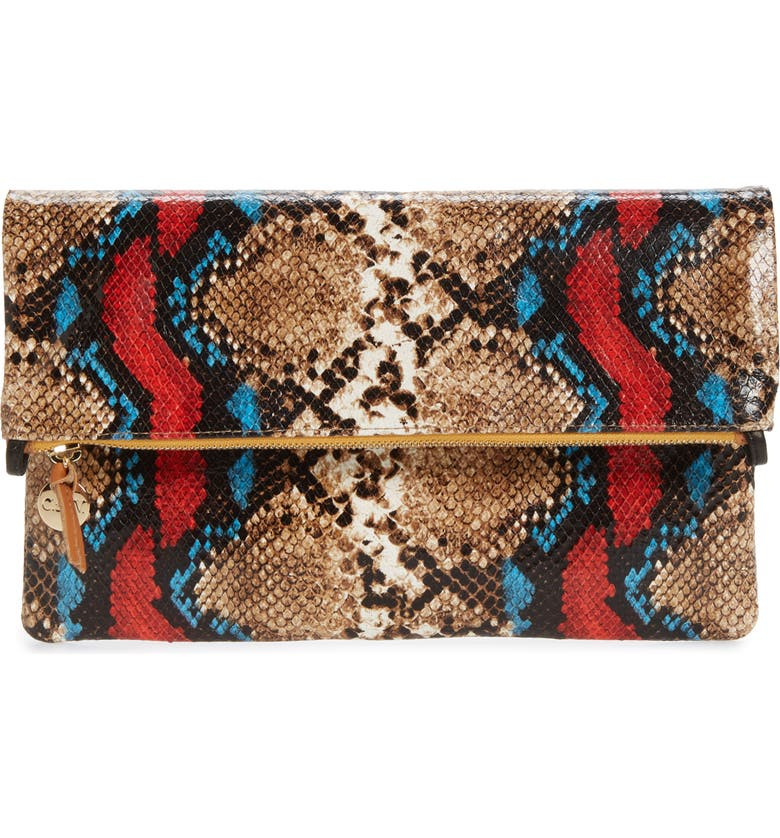 CLARE V. Snake Embossed Leather Foldover Clutch, Main, color, GARDEN SNAKE