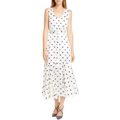 Rosetta Getty Bauhaus Dot Print Silk Charmeuse Midi Dress, White