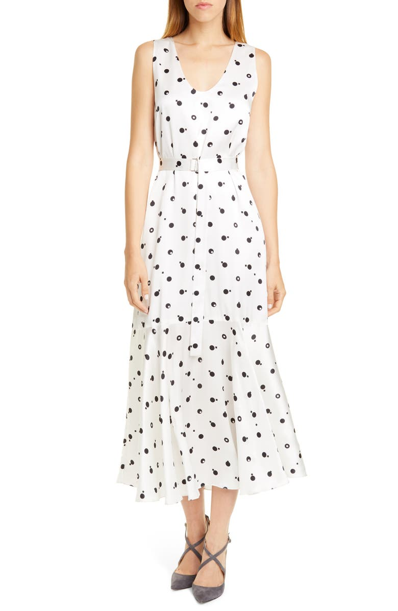 ROSETTA GETTY Bauhaus Dot Print Silk Charmeuse Midi Dress, Main, color, BLACK/ WHITE