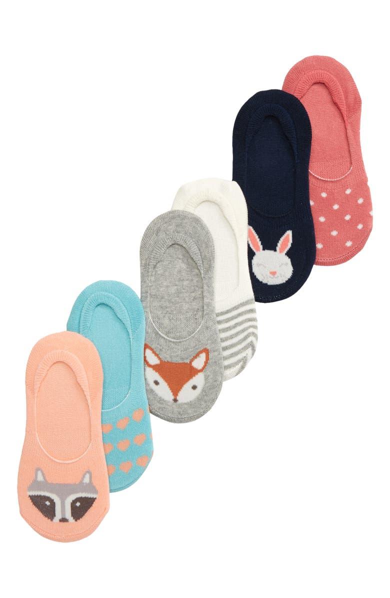 TUCKER + TATE Kids' Critter 6-Pack No-Show Socks, Main, color, GREY ASH HEATHER MULTI