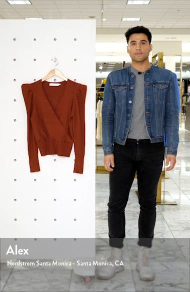 Suki Surplice Puff Shoulder Sweater, sales video thumbnail