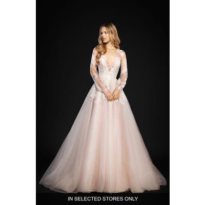 Hayley Paige Winnie Long Sleeve Lace & Tulle Ballgown, Size - Ivory