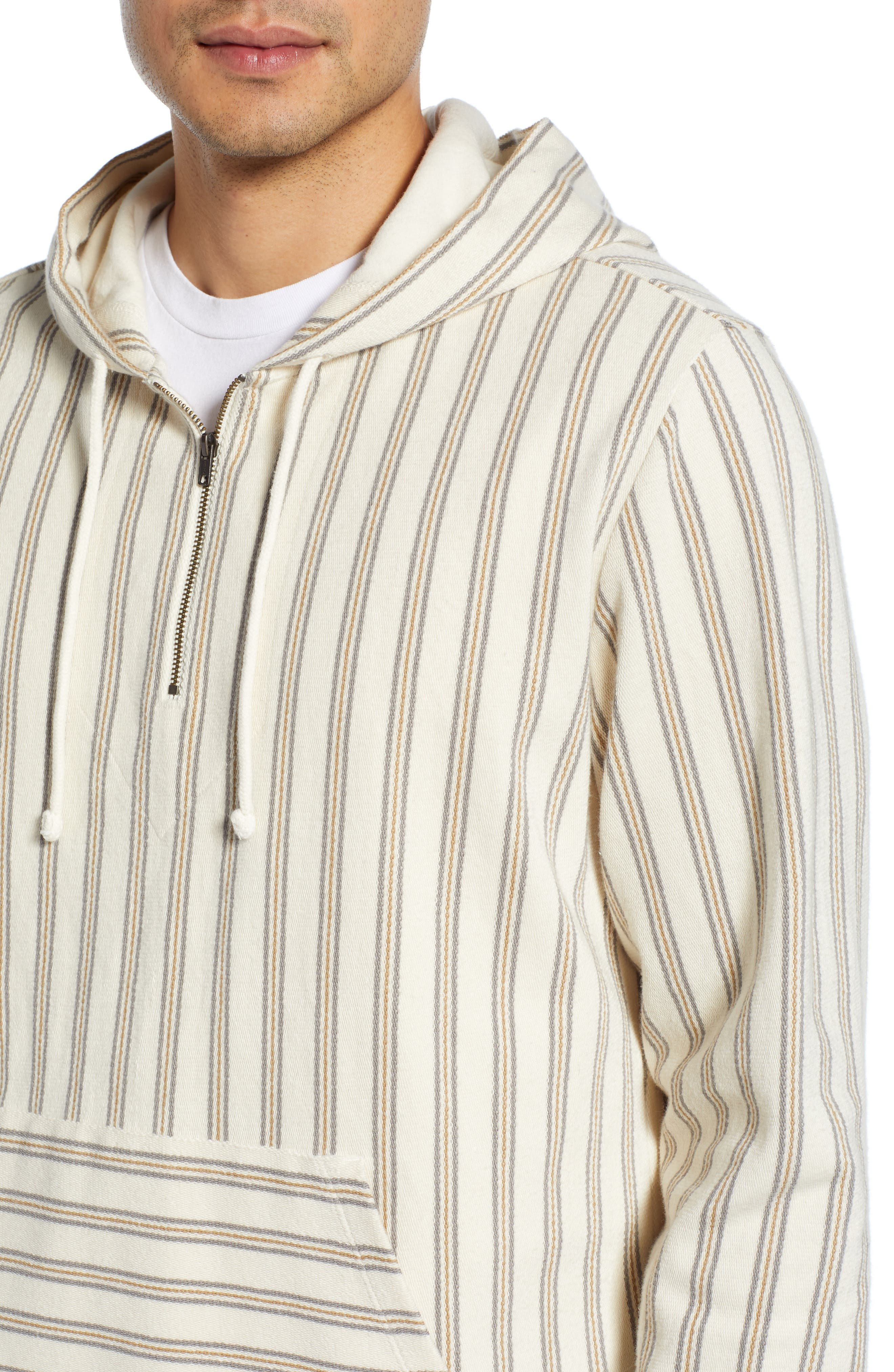 ,                             Stripe Slim Fit Half Zip Hoodie,                             Alternate thumbnail 4, color,                             SAIL/ DOVE GREY