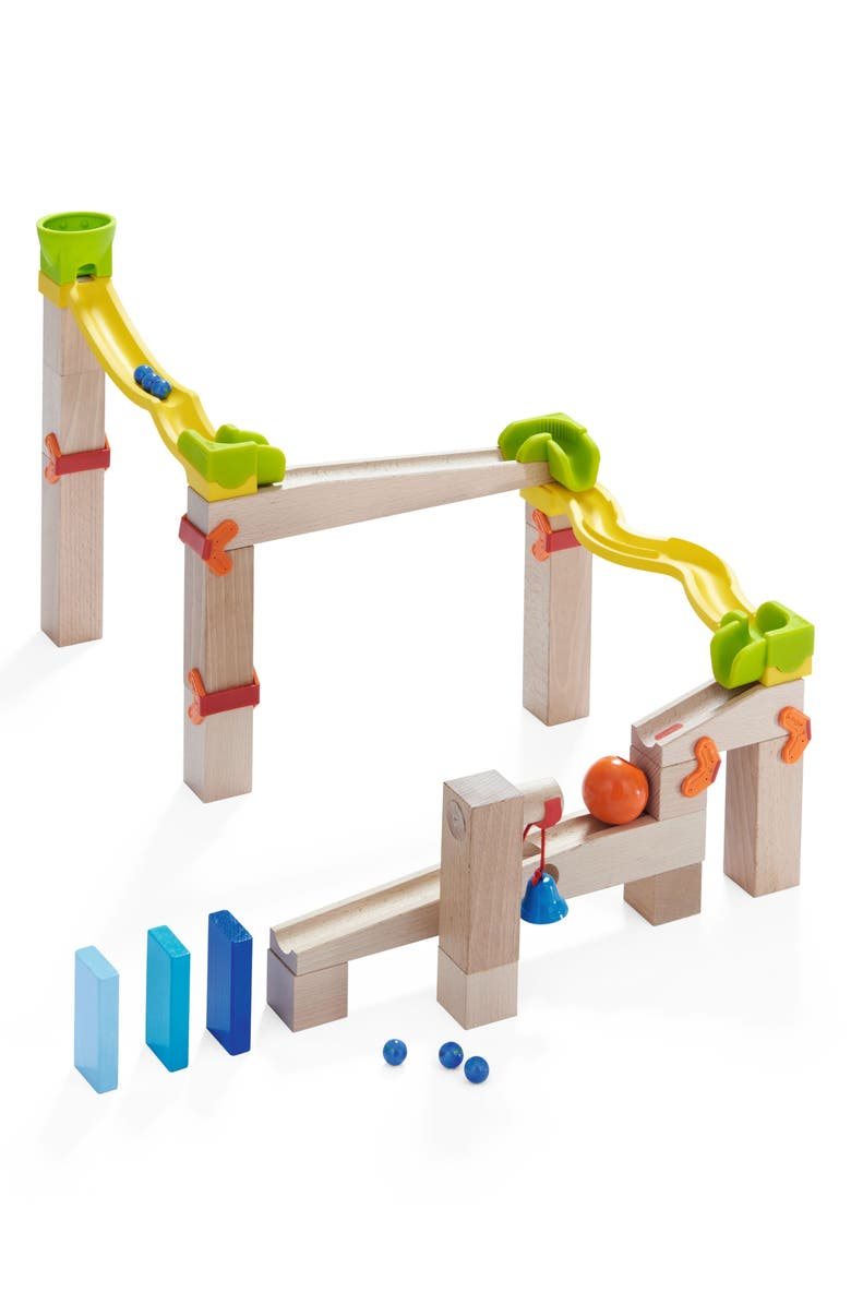 HABA My First Ball Track 41-Piece Basic Pack Switch Track Play Set, Main, color, BROWN