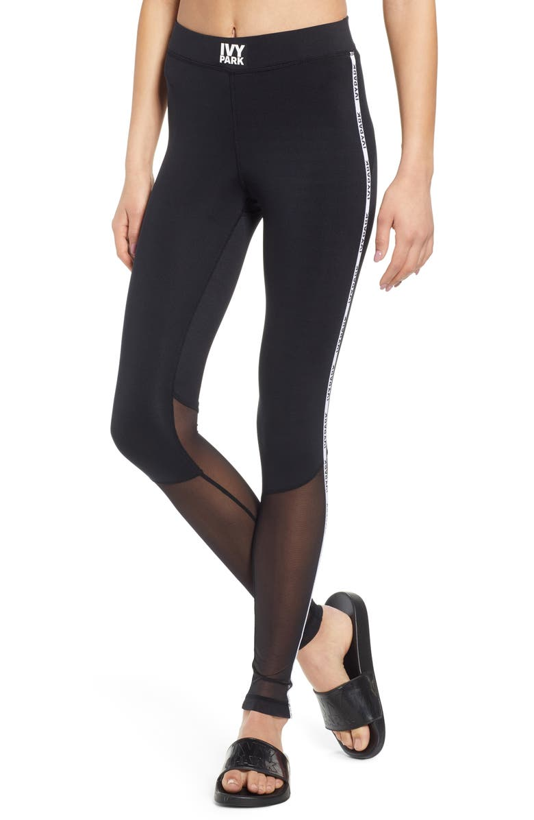 IVY PARK<SUP>®</SUP> Mesh Panel Side Stripe Leggings, Main, color, 001