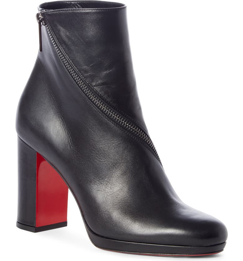 CHRISTIAN LOUBOUTIN Birgitta Zip Around Bootie, Main, color, BLACK LEATHER