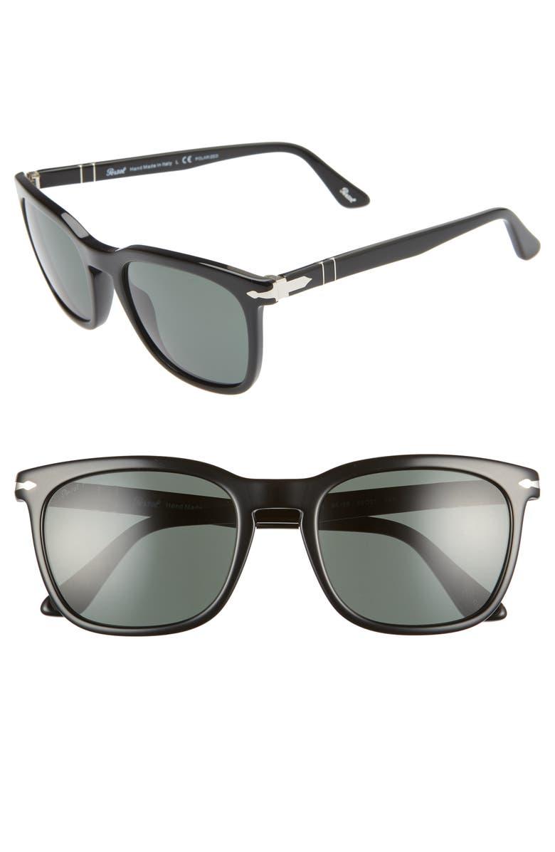 PERSOL 55mm Polarized Square Sunglasses, Main, color, BLACK/ BLACK