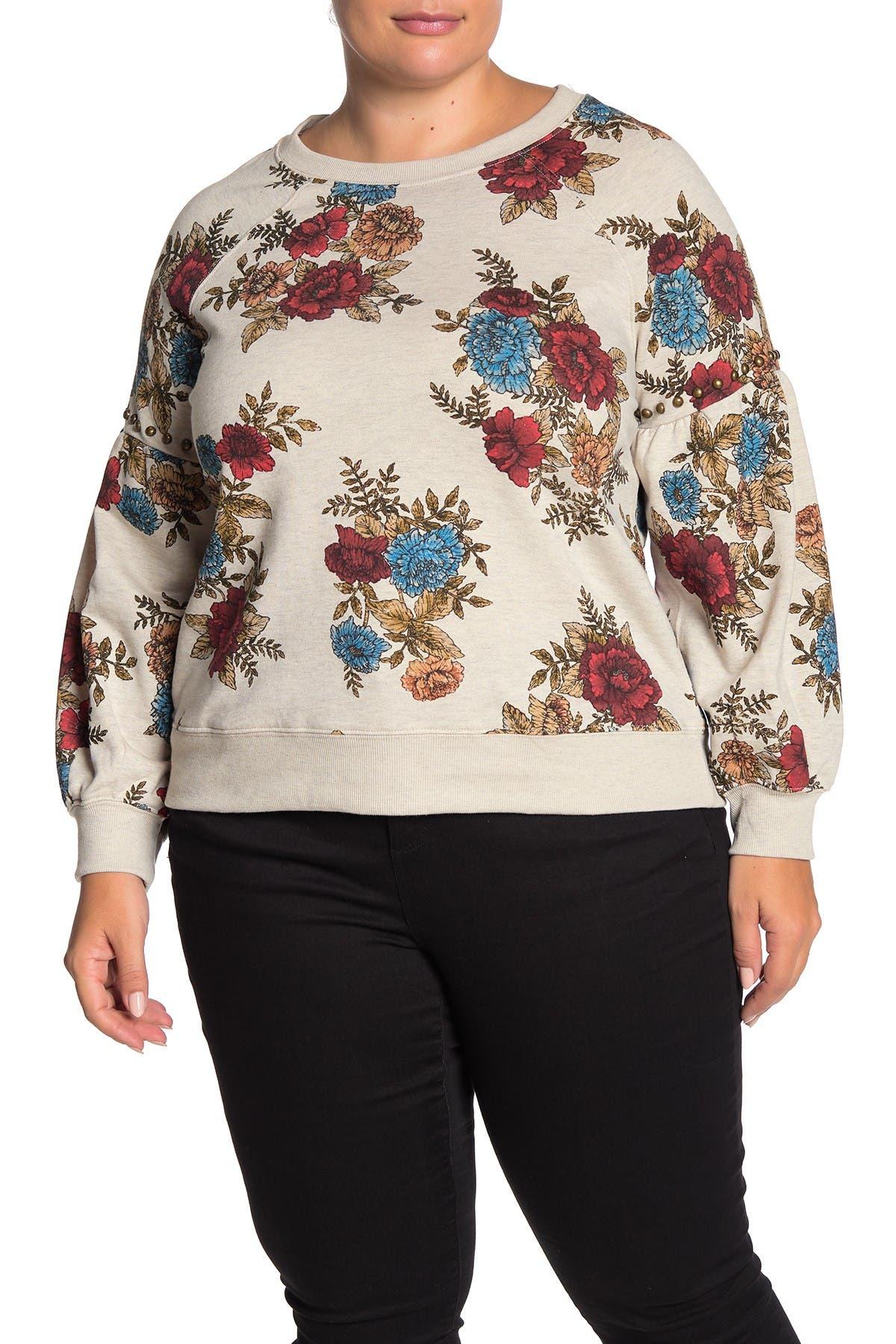 Image of Democracy Floral Print Embellished Stud Sweatshirt