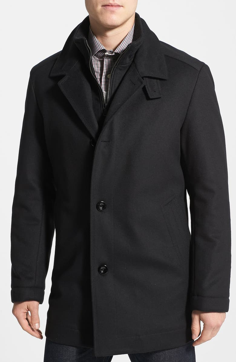 BOSS 'Coxtan' Wool Blend Overcoat, Main, color, 001