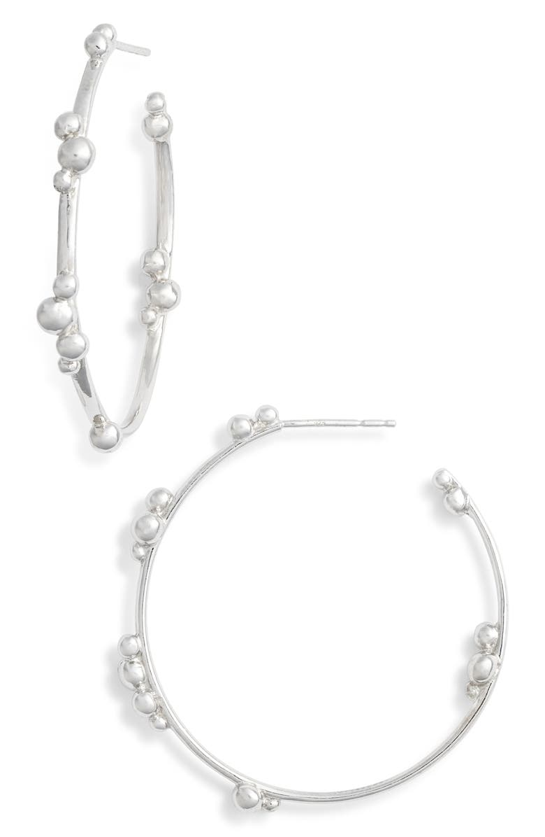 ANZIE Bubbling Brook Hoop Earrings, Main, color, SILVER