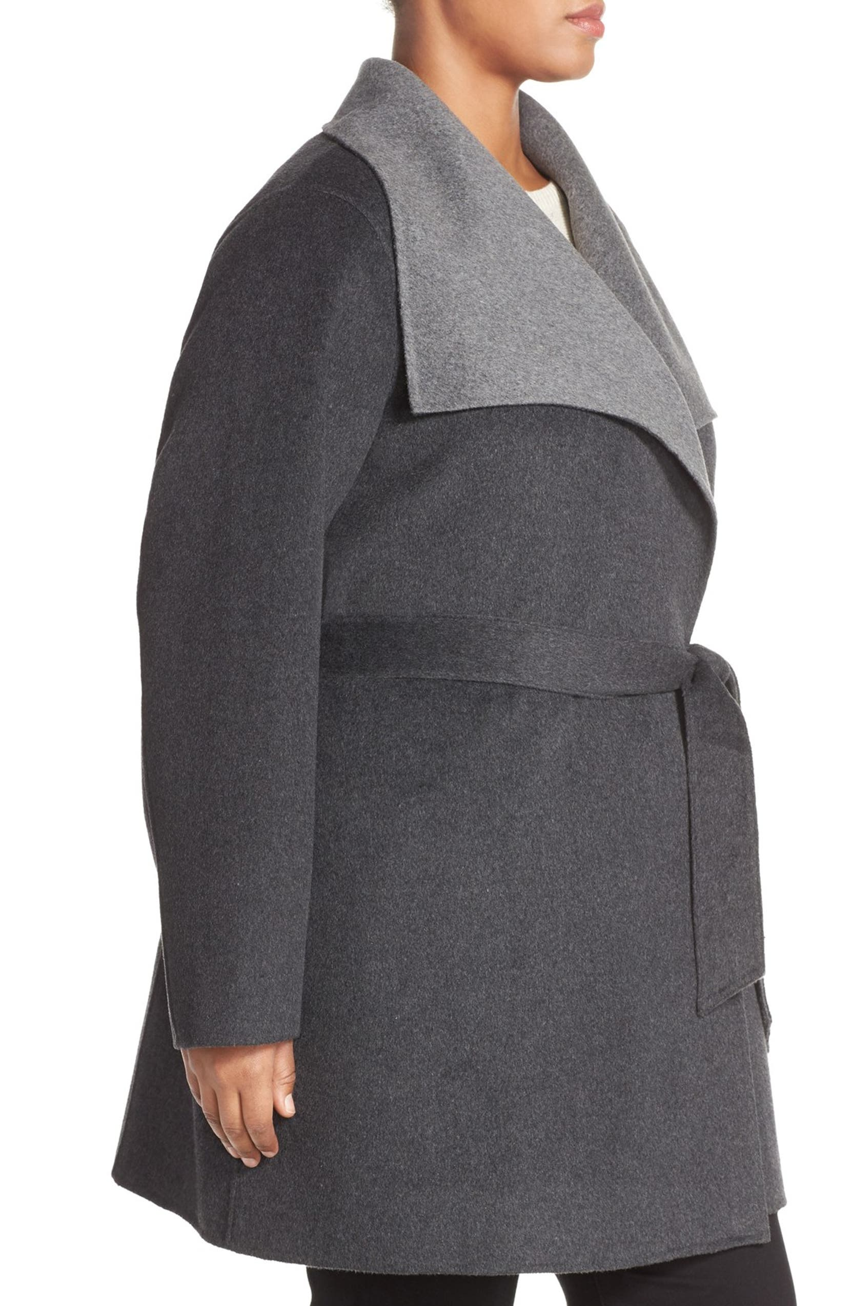 c390cadd3d55 Tahari 'Ella' Belted Two-Tone Wool Blend Wrap Coat (Plus Size) | Nordstrom
