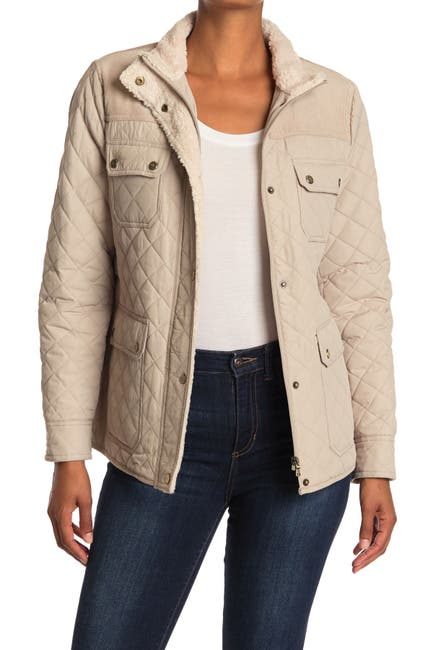 Image of Lauren Ralph Lauren Short Quilted & Corduroy Fleece Trimmed Jacket