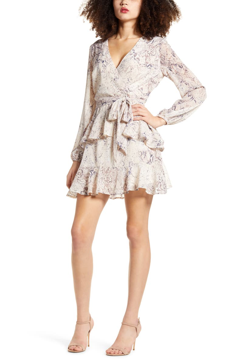 LOVE, FIRE Tiered Wrap Dress, Main, color, NEUTRAL SNAKE