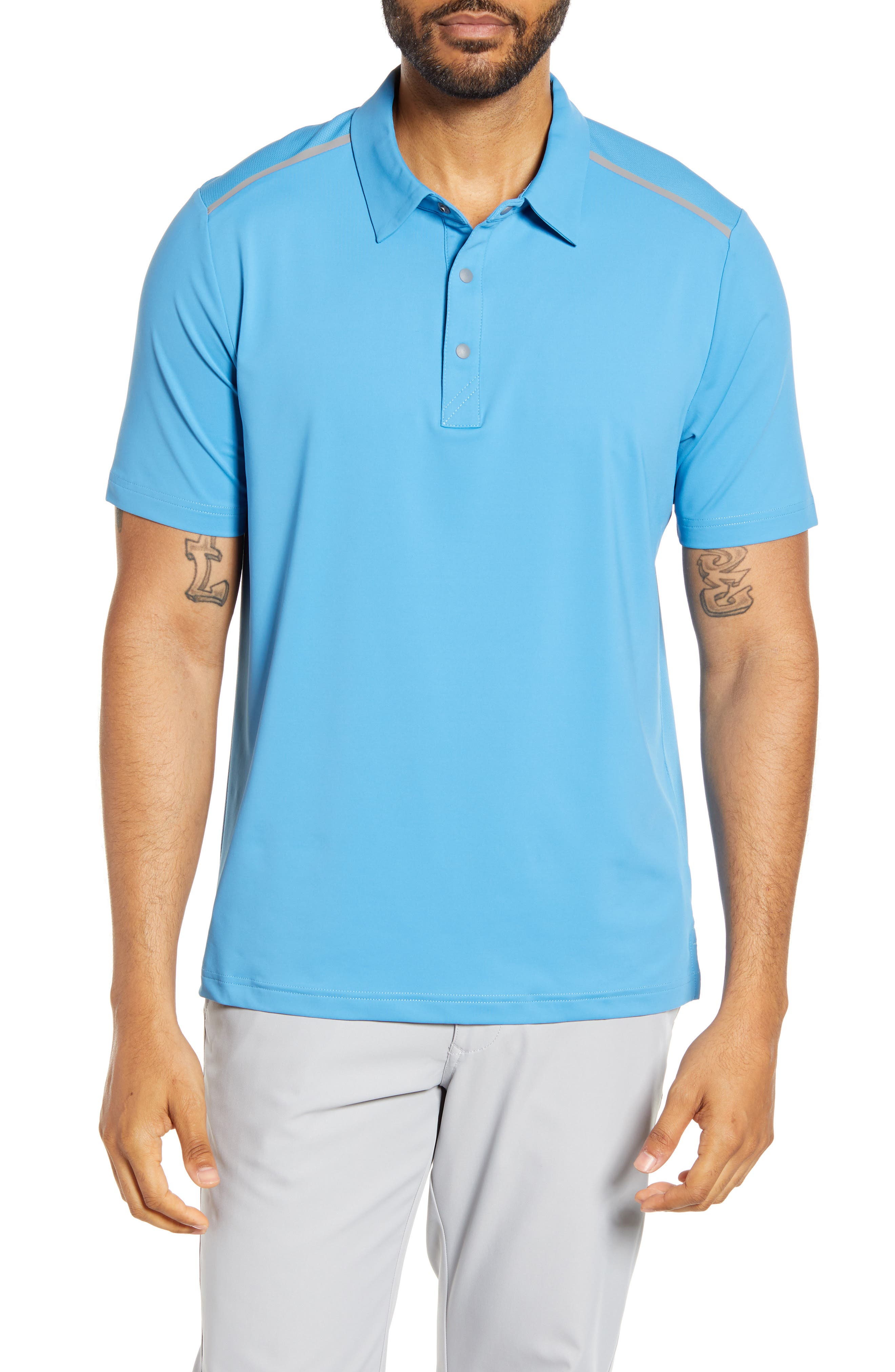 Contrasting shoulder stripes change up a classic polo, designed with moisture-wicking technology to keep you cool all day long. Style Name: Cutter & Buck Fusion Classic Fit Polo. Style Number: 5582473. Available in stores.