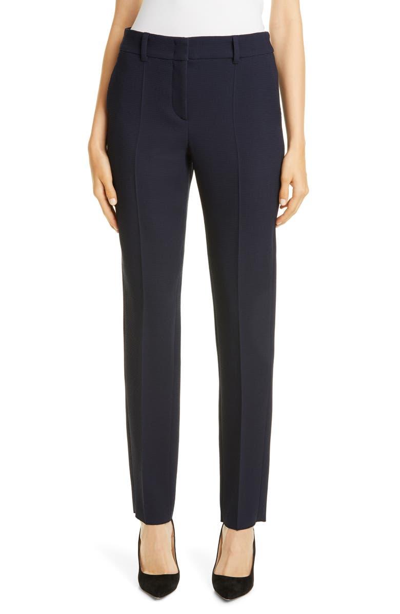 EMPORIO ARMANI Waffle Wool Pants, Main, color, BLU ZEN