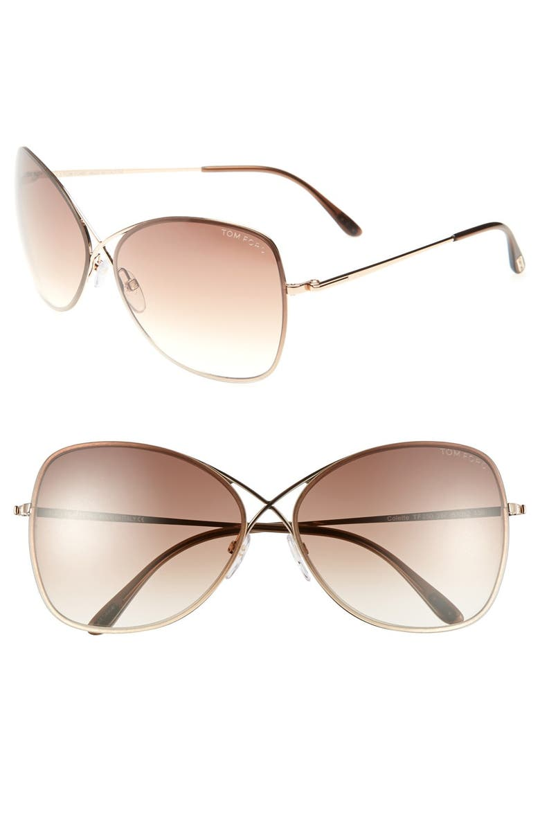 TOM FORD 'Colette' 63mm Oversize Sunglasses, Main, color, SHINY ROSE GOLD/ DARK BROWN