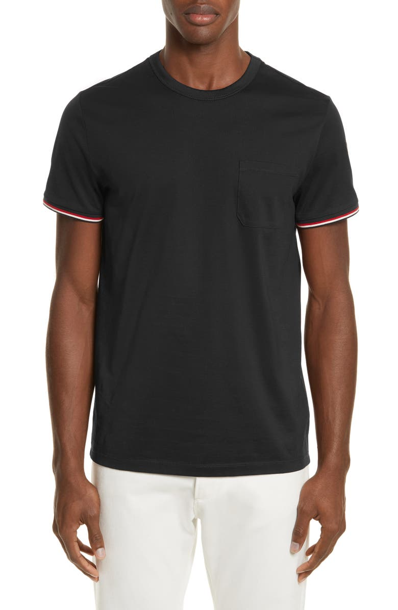 MONCLER Tipped Sleeve T-Shirt, Main, color, 001