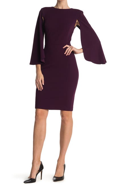 Image of Calvin Klein Caplet Sleeve Sheath Dress