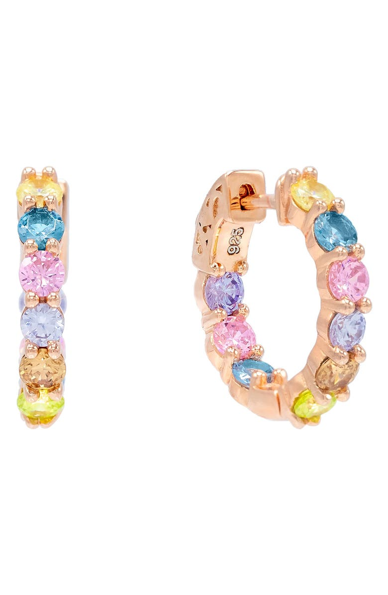 ADINA'S JEWELS Adina's Jewels Pastel Rainbow Huggie Earrings, Main, color, ROSE GOLD