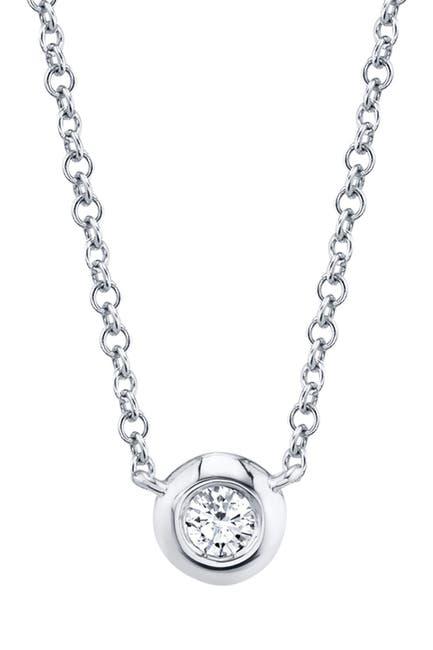 Image of Ron Hami 14K White Gold Bezel Set Round Diamond Pendant Necklace - 0.05 ctw