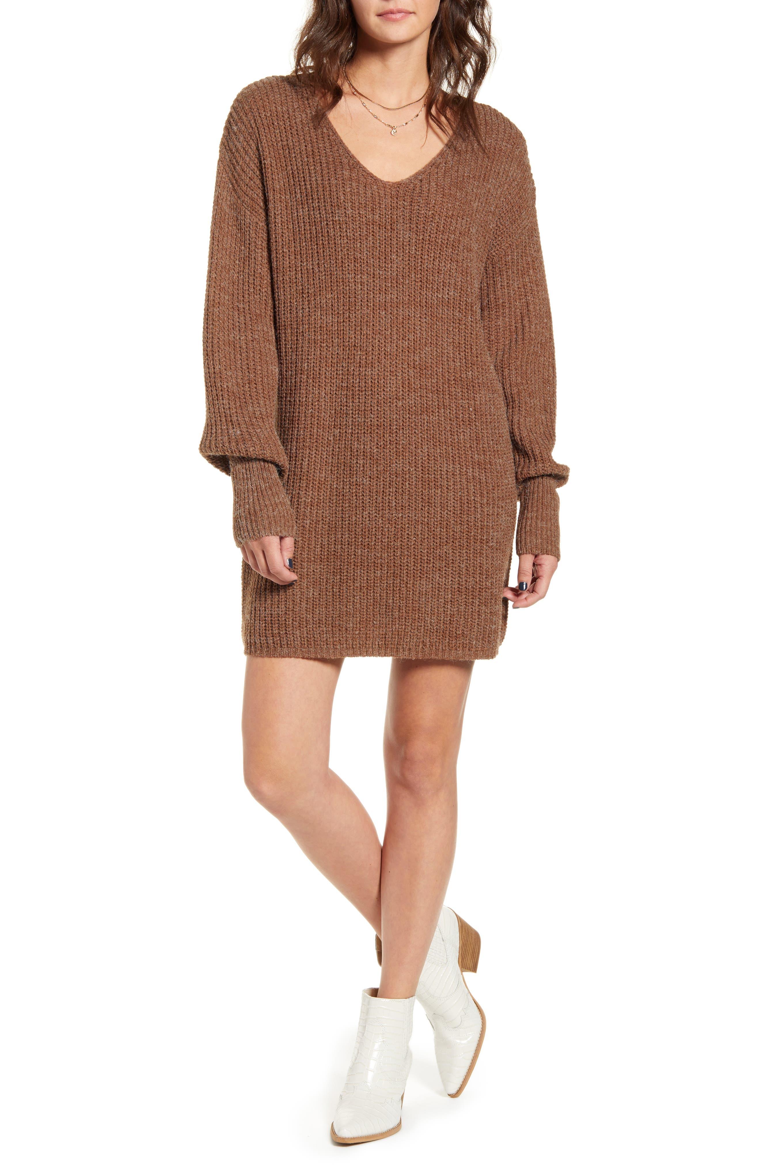 All in Favor U-Neck Sweater Dress