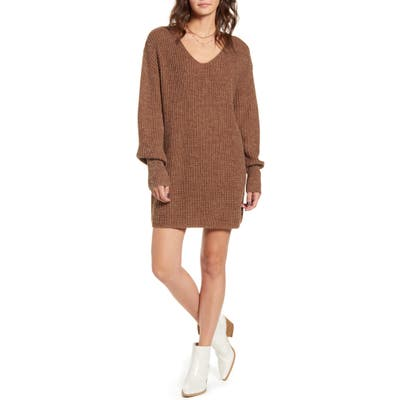 All In Favor U-Neck Sweater Dress, Brown