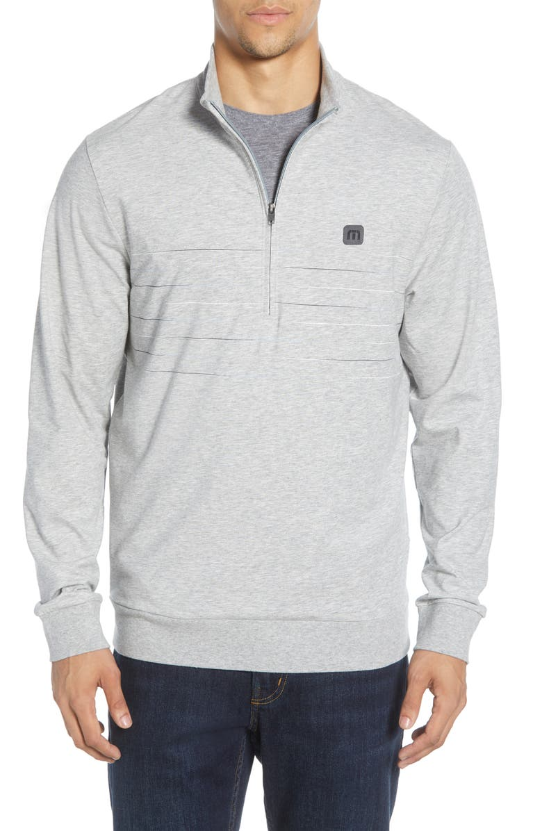 TRAVISMATHEW Mantra Regular Fit Quarter Zip Fleece Pullover, Main, color, HEATHER ALLOY