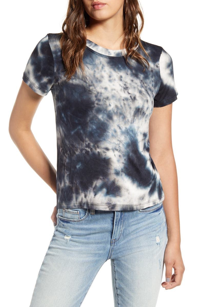 COTTON EMPORIUM Tie Dye Tee, Main, color, BLACK