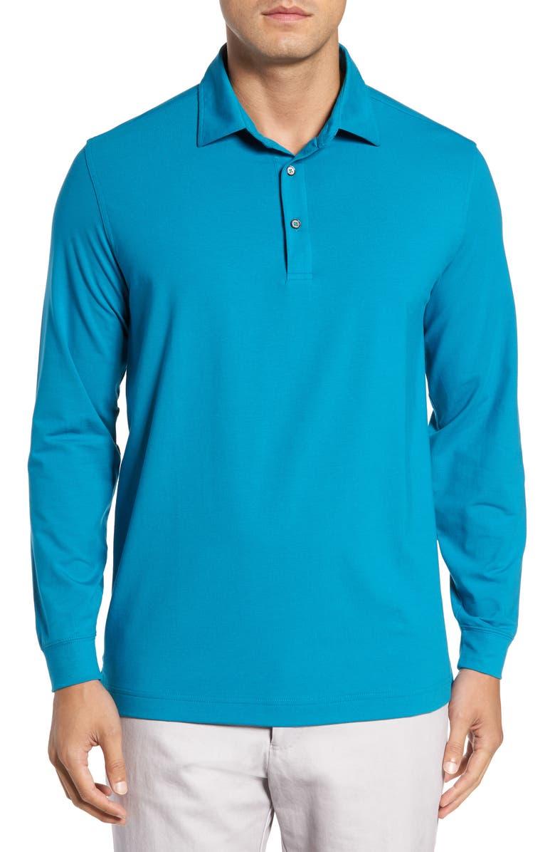 BOBBY JONES Liquid Cotton Long Sleeve Jersey Polo, Main, color, 490