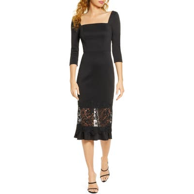 Chi Chi London Furla Lace Overlay Cocktail Dress, Black