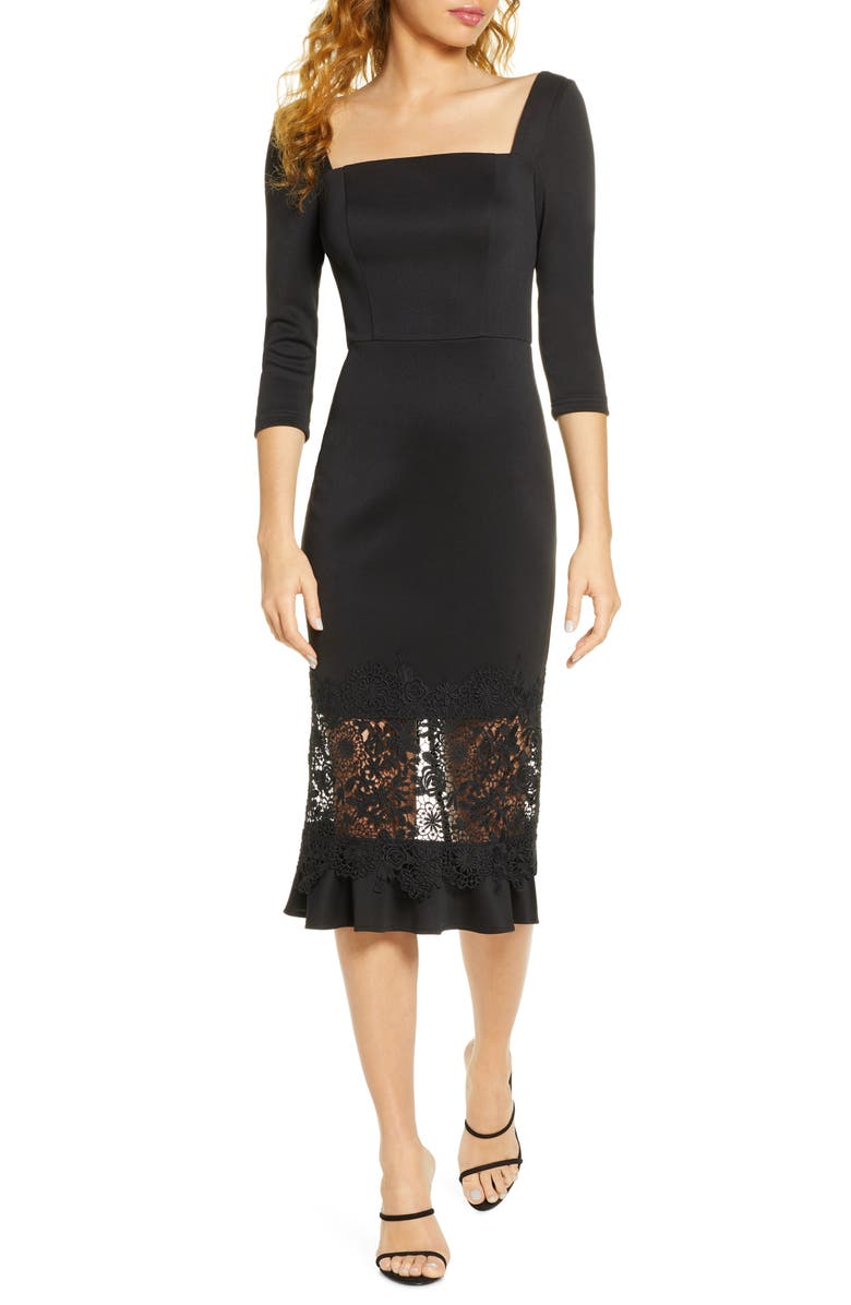 CHI CHI LONDON Furla Lace Overlay Cocktail Dress, Main, color, BLACK